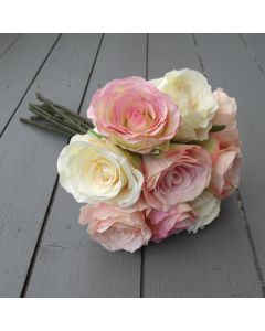 Artificial 40cm Pink and Cream Vintage Rose Bundle
