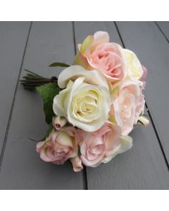 Artificial 25cm Pink and Cream Vintage Rose Bundle