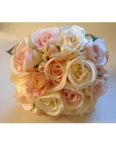 Artificial Cream and Pink Vintage Rose Bridal Bouquet