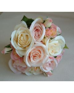 Artificial Cream and Pink Vintage Rose Bridesmaid Bouquet