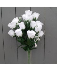 Artificial 45cm White Rose Bush - 18 Heads