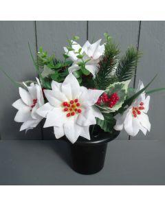 Artificial Ivory Poinsettias in a Crem Pot