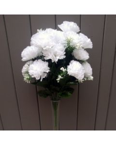 Artificial 45cm White Carnation Bush - 18 Heads