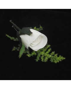 Artificial White Rose Buttonhole