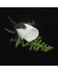 Artificial White Rose Buttonhole