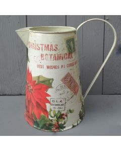 21cm Christmas Poinsettia Metal Jug for Artificial Flowers