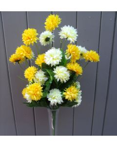 Artificial 40cm Cream & Yellow Chrysanthemums Bush