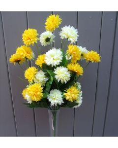 Artificial 40cm Cream & Yellow Chrysanthemums Bush