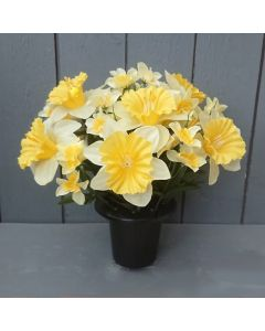 30cm Artificial Daffodil Grave Pot - Yellow