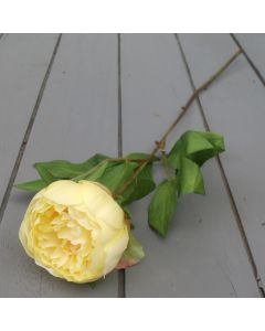Artificial 59cm Single Yellow Peony