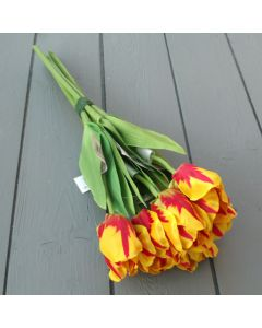 Artificial 40cm Yellow and Red Tulip Bunch - 6 Stems