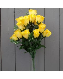 Artificial 45cm Yellow Rose Bush - 18 Heads