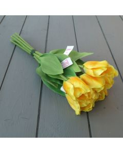 Artificial 40cm Yellow Tulip Bunch - 6 Stems