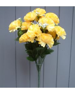 Artificial 45cm Yellow Carnation Bush - 18 Heads