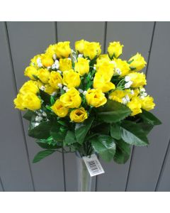 Artificial 35cm Mini Yellow Rose Bush